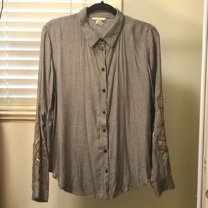 Embroidery Button Down Dress Shirt US 12